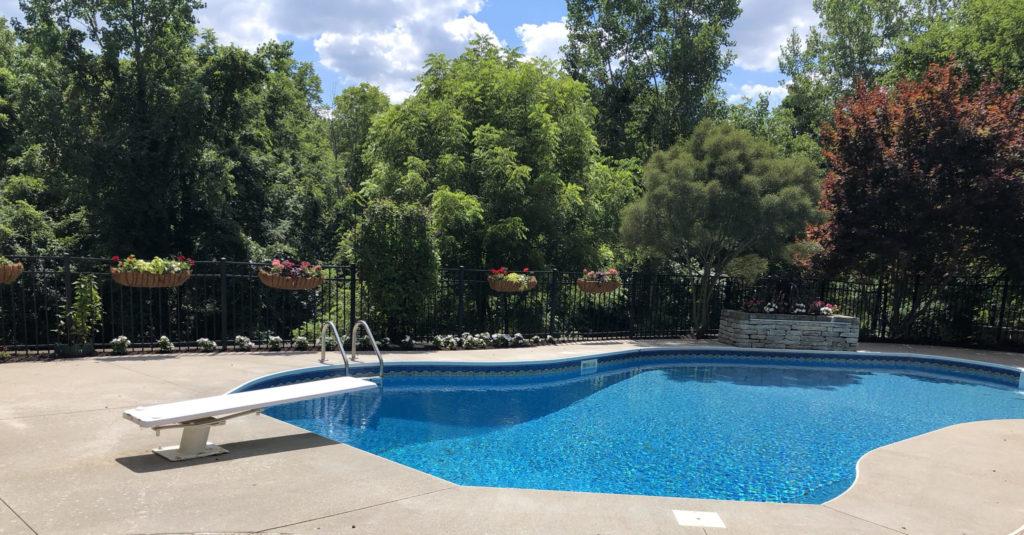 Lovely landscape pool area.